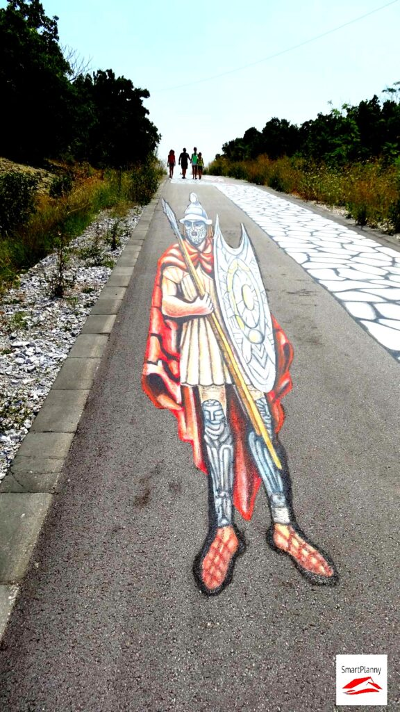 3D Graffiti in front of Mezek Tomb are showing a Thracian warrior